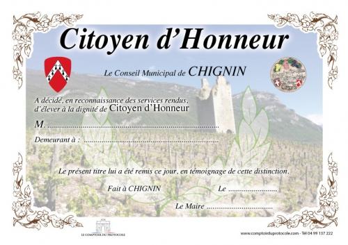 DIPLOME CITOYEN D HONNEUR AVEC CADRE VERRE 2