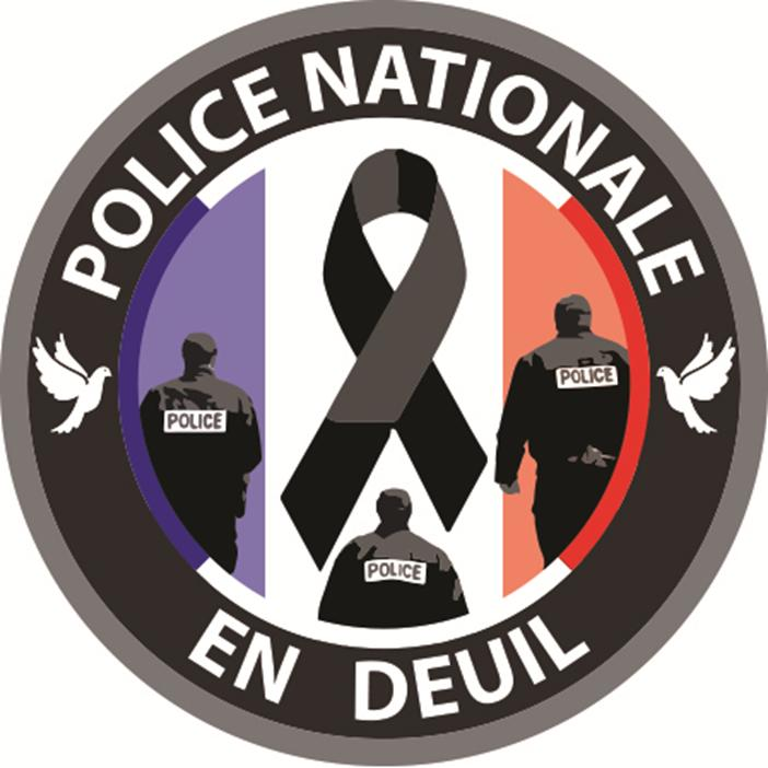 BADGE épingle LA POLICE NATIONALE EN DEUIL 38mm