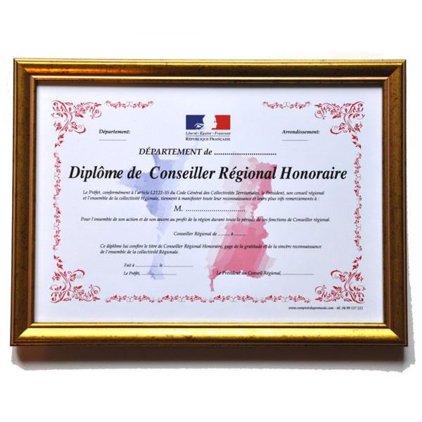 DIPLOME CONSEILLER REGIONAL HONORAIRE AVEC CADRE 20X30CM
