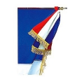 CRAVATE DE DRAPEAU TRICOLORE FRANGE FILEE OR