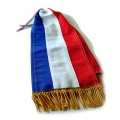 CRAVATE DE DRAPEAU TRICOLORE FRANGE BOUILLON OR