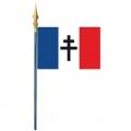Drapeau CROIX DE LORRAINE FRANCE LIBRE avec hampe bois