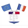 ecusson marseillaise avec drapeaux france europe
